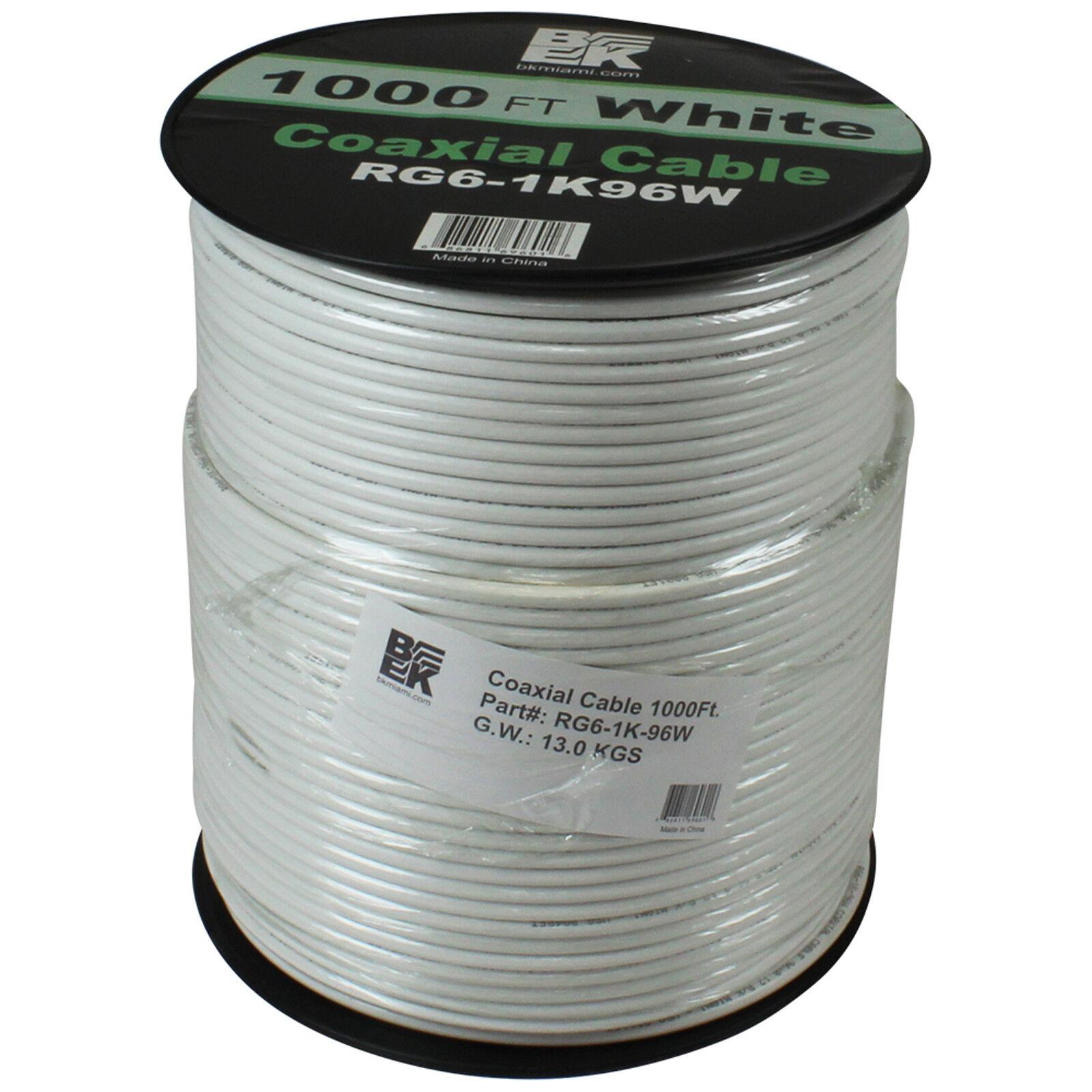 1000' Pies De Cable Coaxial Coaxial Coaxial Coaxial RG6 18AWG Carrete de Alambre de TV satelital-blancoo  mejor precio