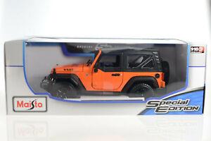 2014-Jeep-Wrangler-JK-Willys-Orange-1-18-Diecast-Model-Car-Maisto-46629-Special