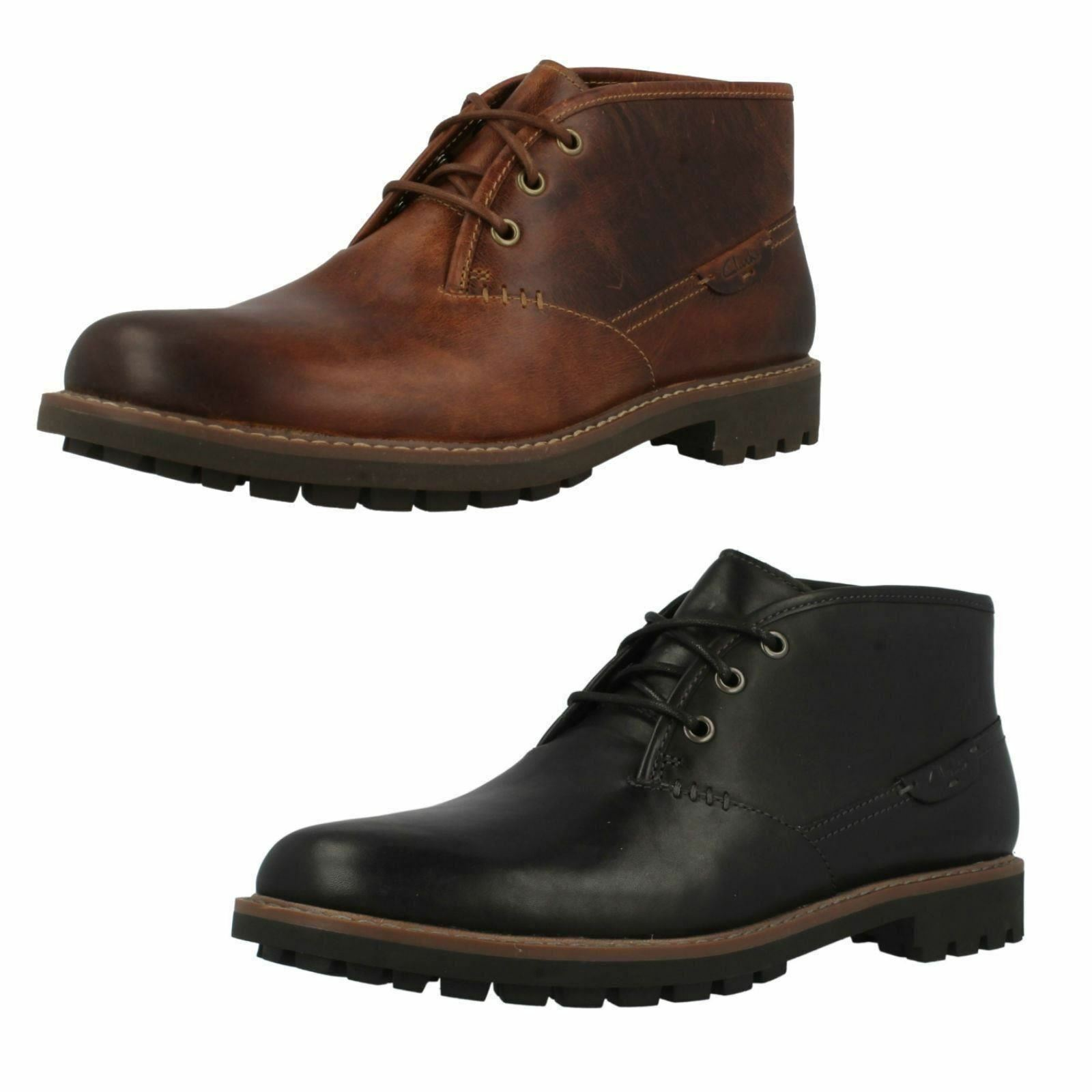 Mens Clarks Montacute Duke Leather Smart Lace Up Ankle Stiefel G Width Fitting