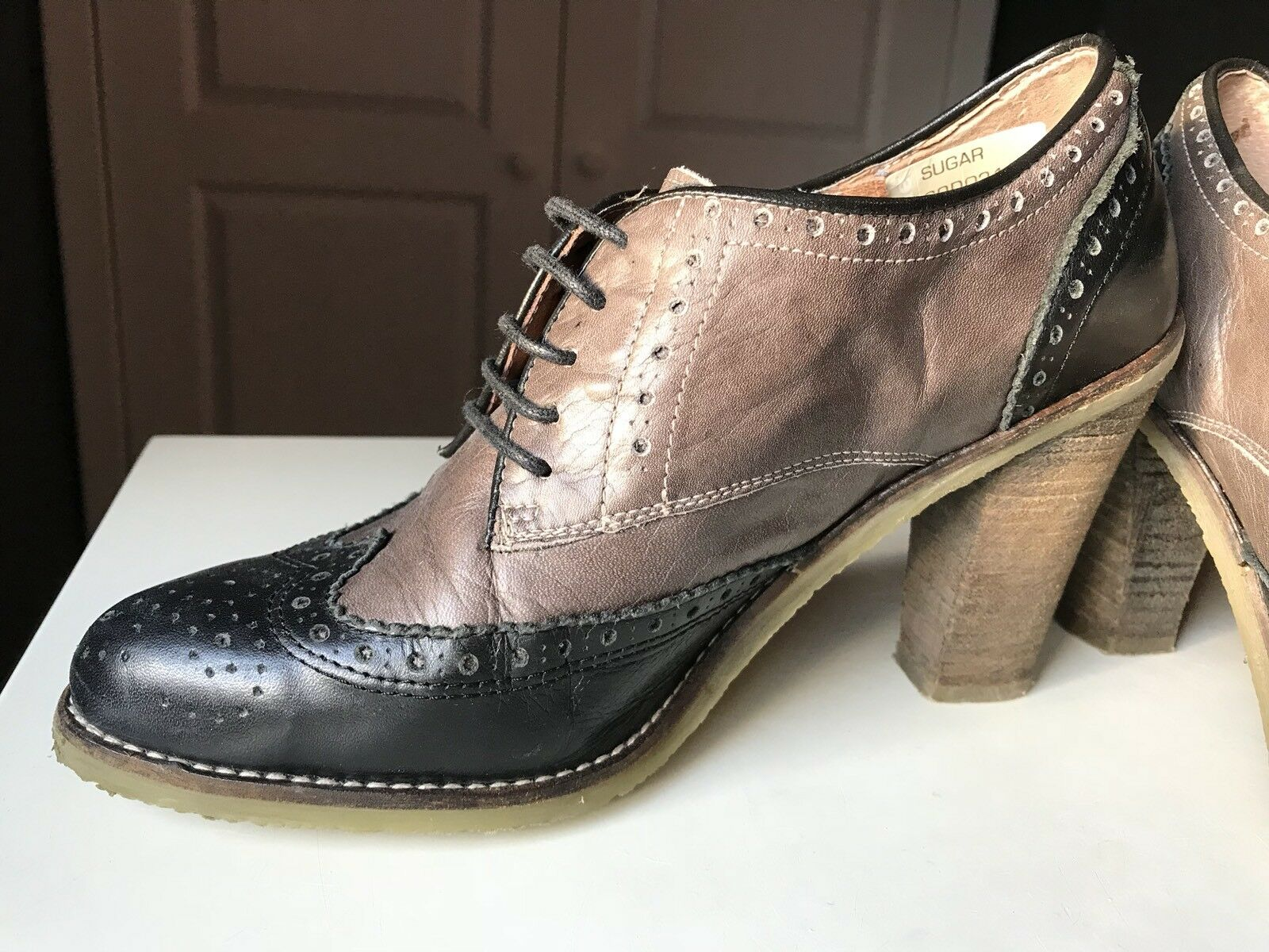 DUNE Court High Heel Sandal shoes Ankle Ankle Ankle Boot Black Brown Brogue Leather Size 6 39 90bdca