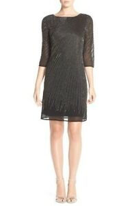 NWT-Adrianna-Papell-Beaded-Sheath-Dress-Black-size-0