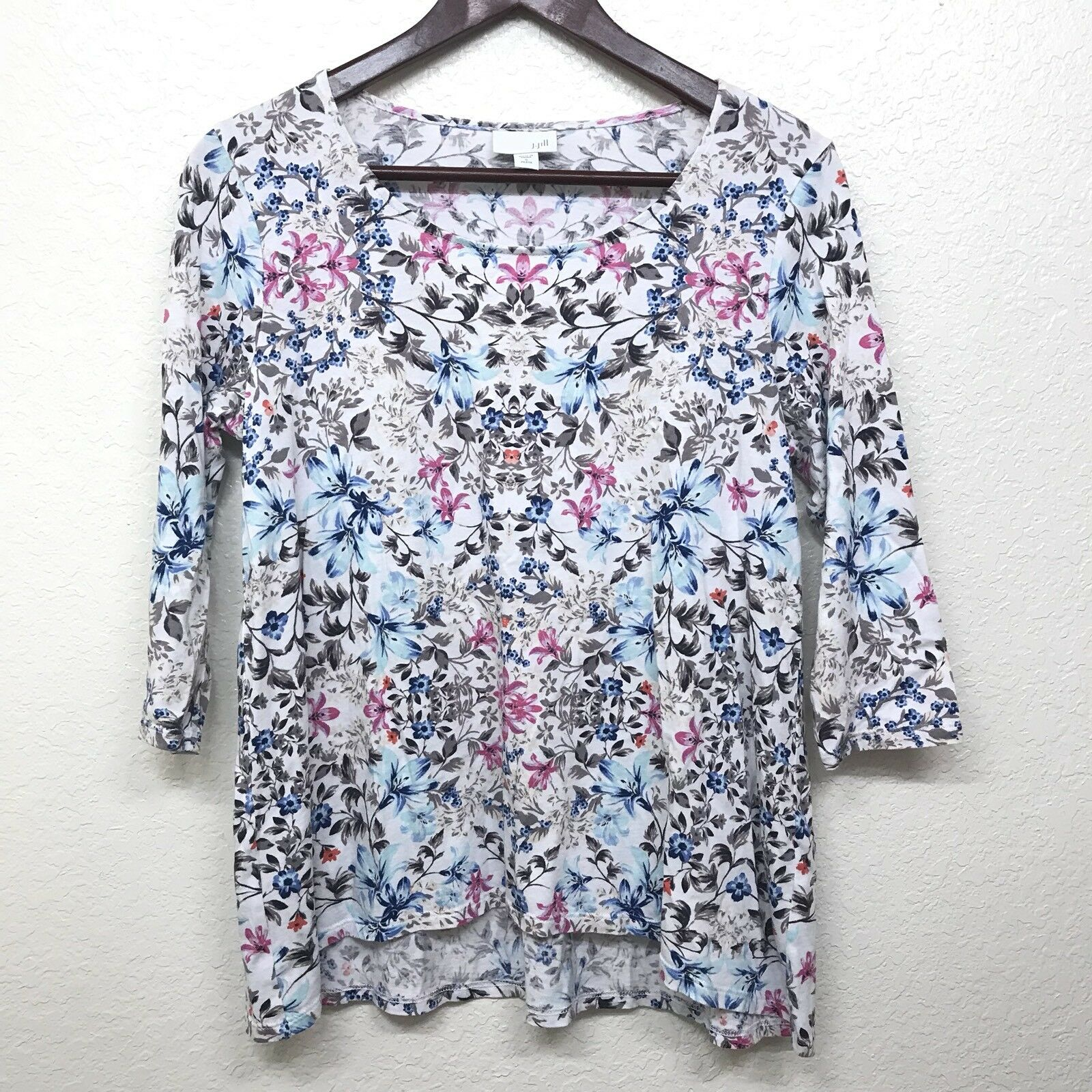 J Jill Womens Floral High Low 3 4 Sleeve Top Size Small Petite