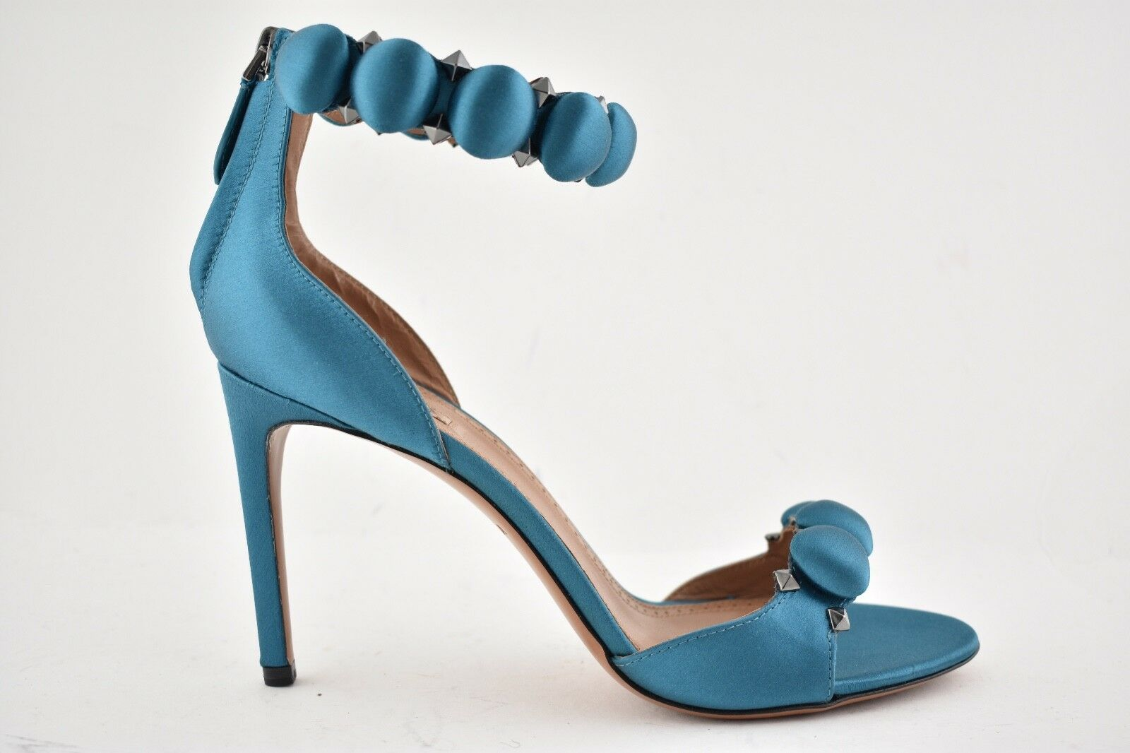 NIB Alaia Bombe 90mm bluee Canard Satin Studded Ankle Strap Sandal Heel Pump 36.5