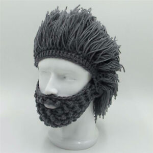 358ac4303e2 Image is loading Winter-Warm-Beard-Hat-Moustache-Cospaly-Barbarian-Looter-