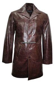 Hommes Cuir genou Longueur Veste 3476 Glaze Blazer Marron Brun Boutons 4 en Classique rz0RrAwx