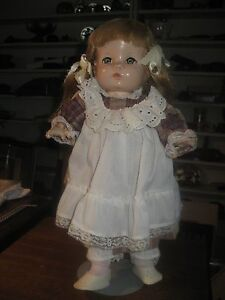 "ANTIQUE COMPOSITION DOLL EFFANBEE 16"" Grey Hazel eyes Original dress SHORT ARMS"
