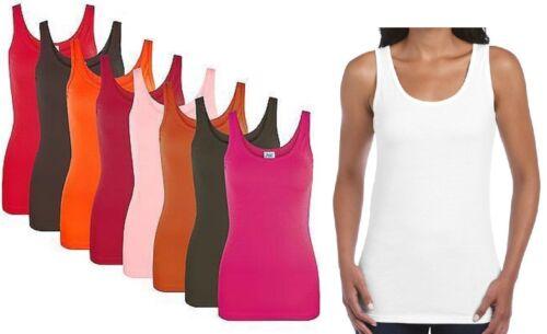 Ladies Summer 100/% Cotton Vest Slim Fit Plain T-Shirt Women's Tank Tops S-XL