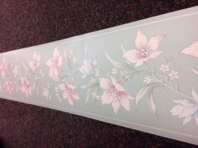 Floral Wallpaper Border *10mt Double Roll* Green Pink Blue