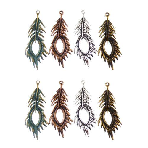 Mixed Color Beautiful Peacock Feather Shaped Jewelry Crafts Pendants Charms 8pcs