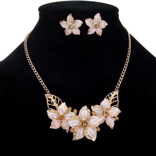 Gold Flowers Crystal Diamante Pendant Necklace Earrings Set Costume Jewellery