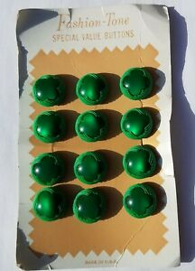 Vintage-Set-GREEN-SHAMROCK-Buttons-St-Patrick-039-s-Day-Sewing-Novelty