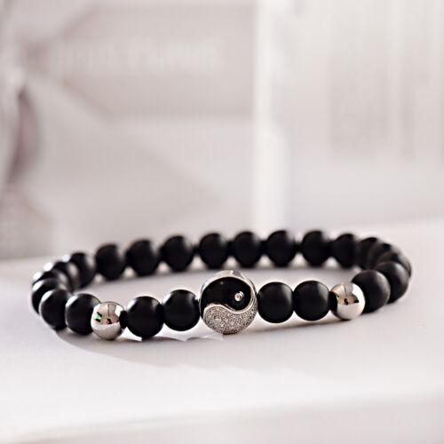 Men Women Natural Matte Onyx Beads Stone Yin Yang Beaded Couple Bracelet Jewelry