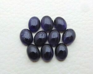 Natural Iolite Loose Gemstone 8X6mm Oval Cabochon Wholesale 5 Piece Lot S301