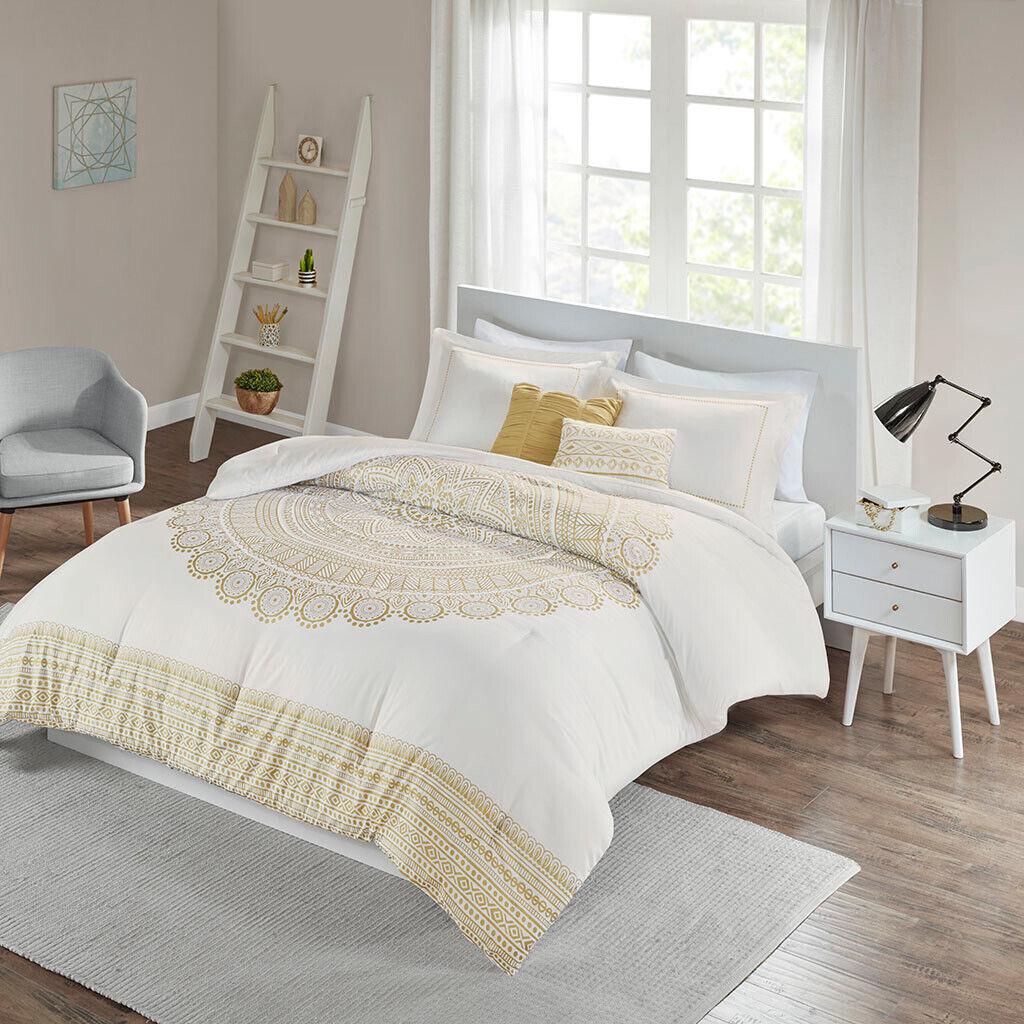 Elegant Gold Weiß Medallion 5 pcs Queen Comforter Set