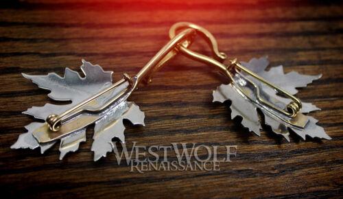 Elven//Medieval//Viking//Celtic//Brooch//Silver Maple Leaf Cloak Pins//Clasps Set