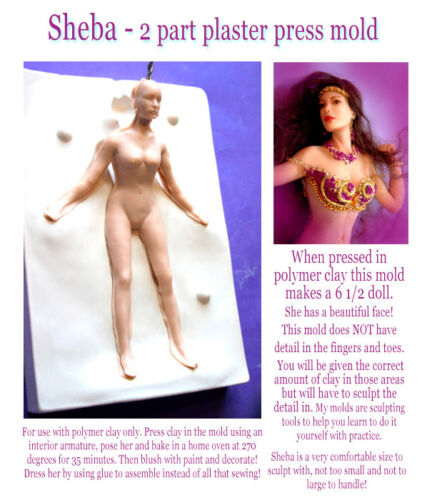 """SHEBA 6 1//2/"""" beautiful LADY PRESS MOLD for polymer clay by Patricia Rose"""