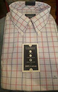 Club-Room-Mens-Dress-Shirt-Regular-Fit-Blue-Red-Size-17-1-2-36-Button-Down-55