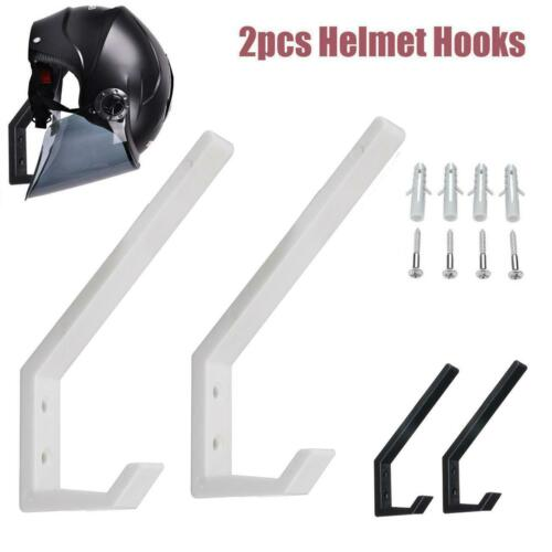 2x Wall Mount Motorcycle Bike ATV Helmet Hook Holder Hanger Rack