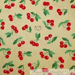 BonEful-FABRIC-FQ-Cotton-Quilt-Yellow-White-Polka-Dot-Red-Cherry-Green-Leaf-Girl