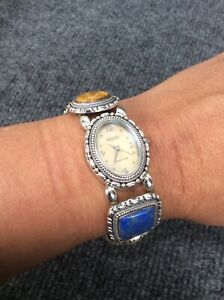 Ecclissi sterling silver 925 Mop Lapis Tiger Eye Stretch watch  bracelet