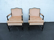 Pair of French Painted Tufted Living Room Side by Side Chairs 7013