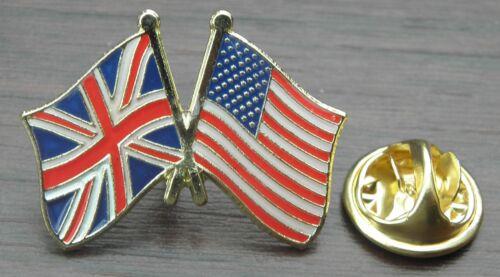 America USA UK Union Jack Flag Friendship Lapel Hat Tie Pin Badge United States