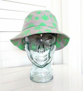 Details about KB ETHOS Pot Weed Leaf 420 Marijuana Cannibis Bucket Hat O S  in Gray   Green 4c3786da7f2