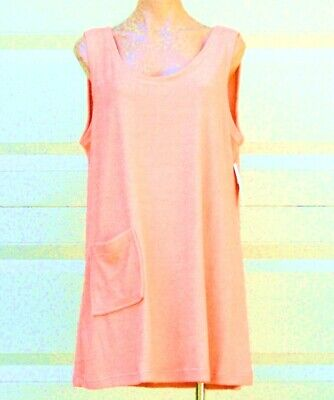 Size XL Cotton Poly Sleeveless Terry Cloth Tank Style Cover Up w//Pocket