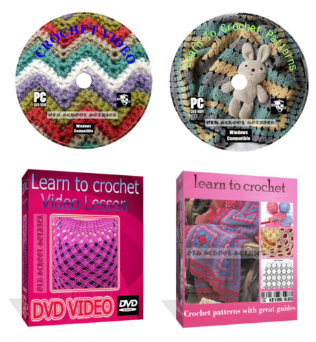 Learn How To Crochet  830 patterns with great guides Video Lesson 2 disks
