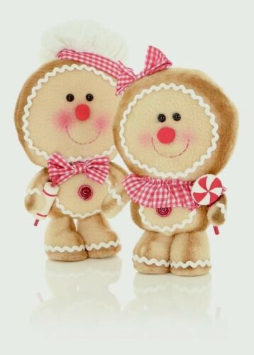 Set Of 2 Premier Standing Plush Gingerbread Girl /& Boy Christmas Figures 30cm