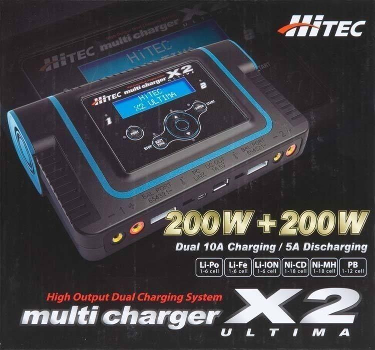 Hitec Ultima X2 de doble puerto sistema de administración de batería Cargador 44164 HRCP 4164