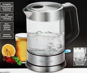 profi cook gastro glas wasserkocher glas edelstahl silber schwarz 2200w neu ebay. Black Bedroom Furniture Sets. Home Design Ideas