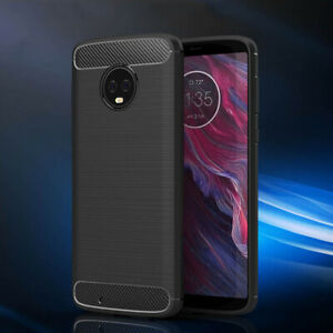 For MOTO E4 E5 G5 G5S G6 G7 Plus Slim Fiber Carbon Silicone Rugged Case Cover