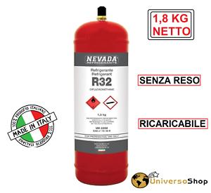 GAS R32 REFRIGERANTE RICARICA PER CLIMATIZZATORI BOMBOLA R32 DA 1,8 KG NETTO