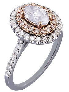e0dd47deb6454 Details about GIA I-SI1 14k White Rose Gold Oval Cut Diamond Pink  Engagement Ring Halo 1.30ctw