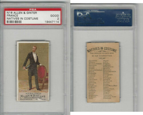 N16 Allen & Ginter, Natives In Costume, 1886, France, PSA 2 Good