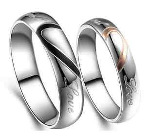 Anello-Coppia-Fedine-Fidanzamento-acciaio-Amore-Cuore-Spezzato-nome-Idea-Regalo