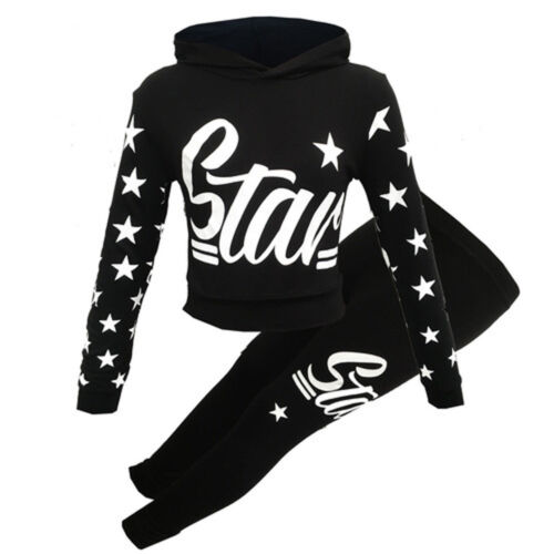 NEW GIRLS KIDS LS STAR HOODED CROP TOP AND BOTTOMS SET LOUNGE WEAR AGE 7-13 YRS
