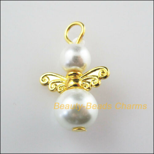 8Pcs Gold Plated Wings White Dancing Angel Charms Pendants 14x22mm
