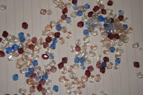 lot 400 perle en cristal en mélange  forme toupie conique 5 couleurs différentes