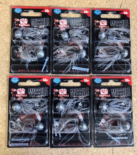 3//8oz. by Missile–Jig For Bass Fishing LOT OF 6 JIGS-Ike's Micro Football Jig