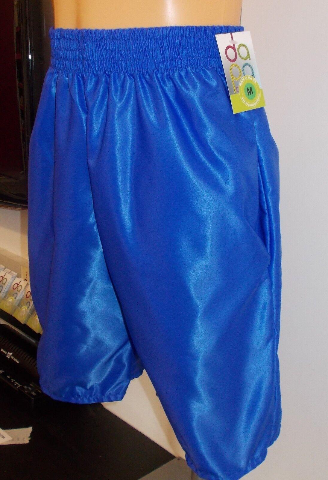 Nylon Satin Comodi Corto con Tasche S - 4XL, Blu Reale