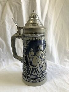 Vintage-GERZ-W-Germany-Pottery-Beer-Stein-Lidded-Marked-No-Chips-BLUE
