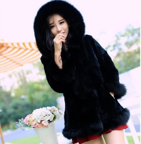 Womens Real Rabbit Fur Furry Winter Hooded Long Jacket Thicken Coat Warm Ske15