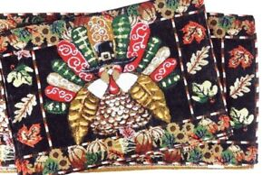 Image Is Loading NEW Thanksgiving Turkey Tapestry Table Runner And 4