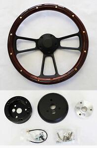Nova-Chevelle-El-Camino-Impala-Steering-Wheel-Mahogany-Wood-amp-Black-Spokes-14-034