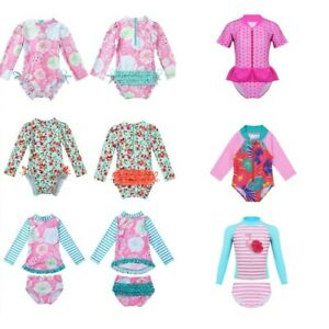 Kids-Girls-Long-Sleeve-Rash-Guard-Swimsuit-Beachwear-Swimming-Swimwear-Costume