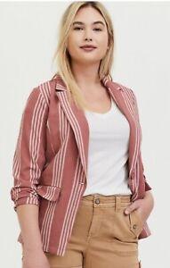 NEW-Torrid-Dusty-Rose-Long-Sleeve-Stripe-Longline-Blazer-Size-1-1X-NWT
