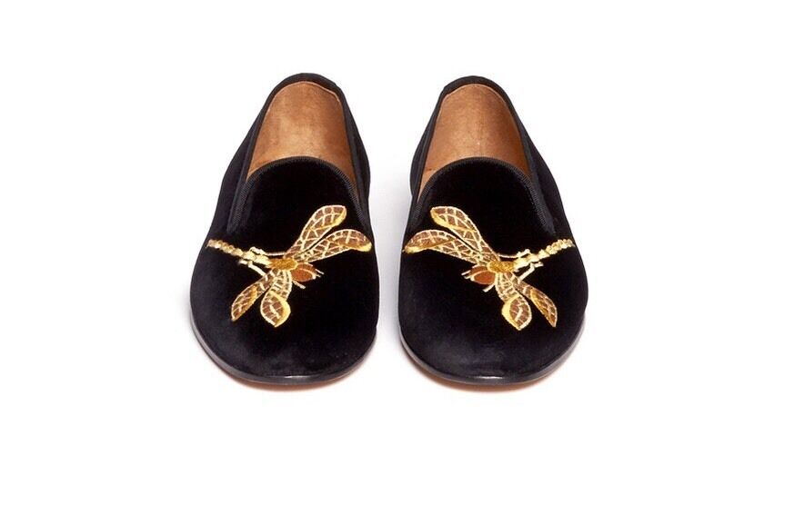 Stubbs And Wootton Brown Dragonfly Velvet Smoking Slippers Size 8.5