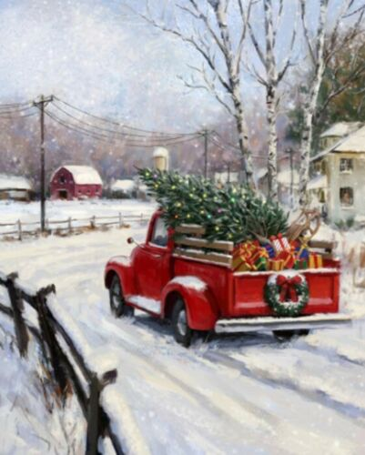 Holidays Christmas Red Truck Full Of Gifts,Cross Stitch Pattern